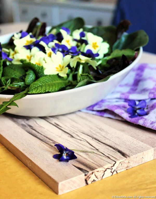 Violets and cowslips salad from the woods - http://www.erbaviola.com/2013/04/14/insalata-di-primule-viole-e-cicorini-selvatici.htm