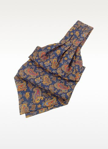 €48.00 | Forzieri's ascot in pure twill silk adds an elegant and timeless touch to any outfit with its regal paisley print and classic hues. Signature gift envelope included, Made in Italy.