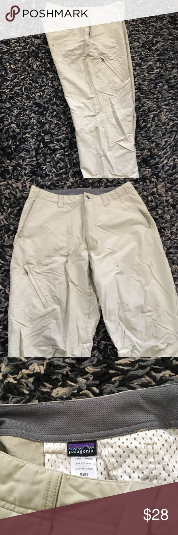 Patagonia climbing/hiking pants 94% Nylon 6% Spandex pants. They have a few seasons under their belt, and some trail stains but they are sturdy and have no rips. Patagonia Pants