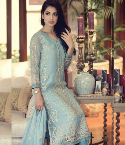 Maria B  Embroidered  Chiffon Suit   Maria_bd03