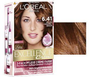 Excellence Crème 6 41 Helles Caramel Braun Haare Haarfarben