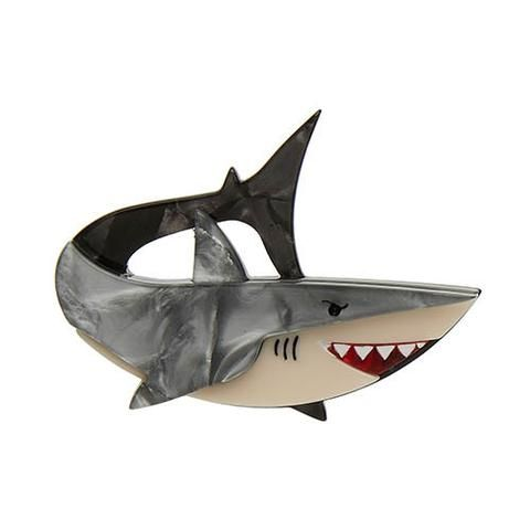 """Erstwilder Limited Edition Here's Brucey Brooch. """"The great Great White reputation reclamation project has begun! And you cannot wipe the smile from my face. Fish are friends. """""""
