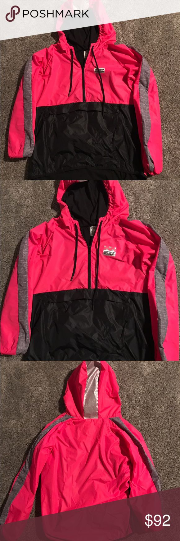 Victoria's Secret Pink Anorak Jacket Sz med/large Victoria's Secret Pink Anorak jacket in a size medium/large! Only worn one time and washed one time and hung to dry! No flaws at all! Super cute colors! Hard to find! Smoke free home! Inside is fleece lined! Front pouch pocket! PINK Victoria's Secret Jackets & Coats Utility Jackets