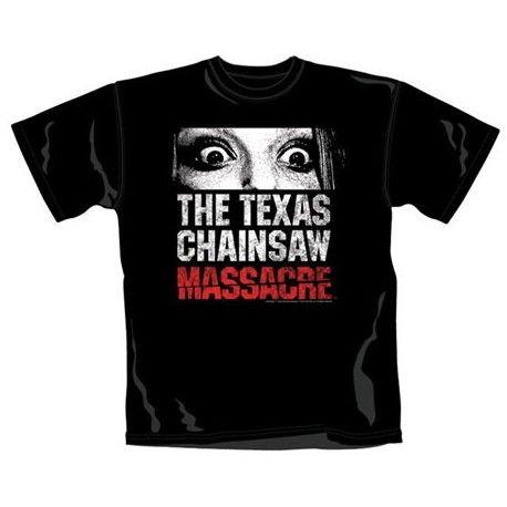 Camiseta de la película La matanza de Texas. Realizada en negro, está fabricada en algodón al 100% y es genial para los más fans de esta película de terror.