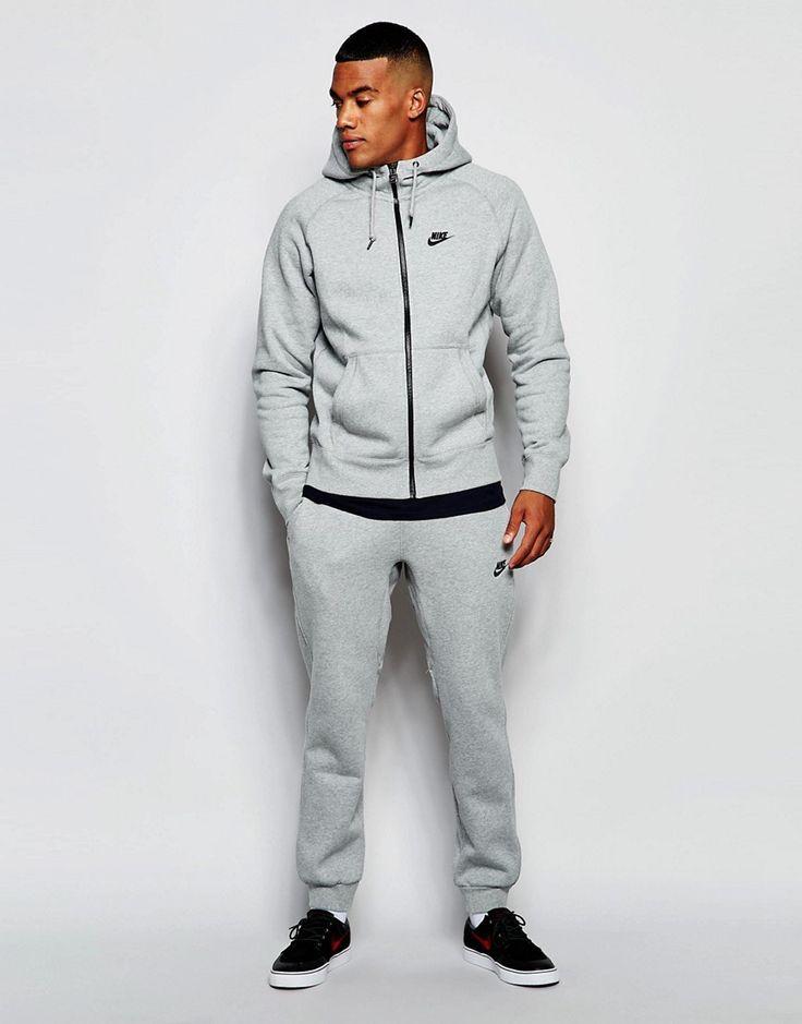 De lækreste Nike AW77 Skinny Tracksuit Set 678622-063 - Grey Nike Joggers til Herrer til hverdag og til fest