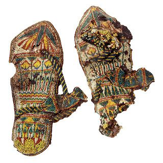 Sandals with Beadwork of Tutankhamun! Absolutely beautiful!!!  Nearly a 100 items of footwear were found in the tomb of Tutankhamun.