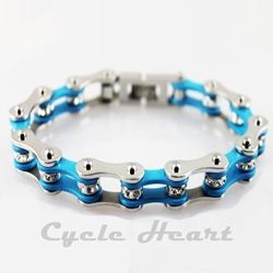 Silver & Turquoise Bike Chain Bracelet with Crystals