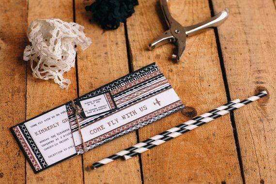 Tapa / Masi, traditional fijian, Tribal pattern, boarding pass WEDDING INVITE
