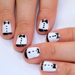 Tuxedo Nails inspired by Zooey Deschanel at the 2012 Golden Globes.