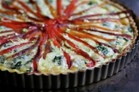 A Savory Tart I will Never Tire Of - bacon, spinach and roasted red pepper - Living Tastefully
