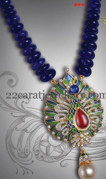 Jewellery Designs: Blue Sapphire Beads Necklace