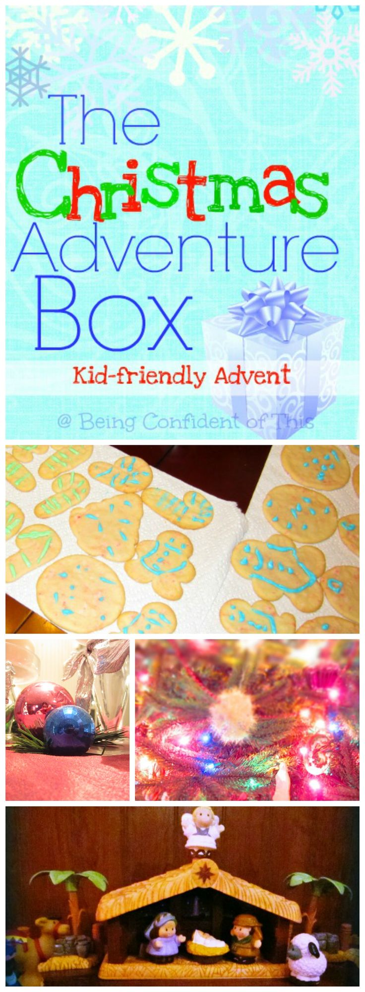 The Christmas Adventure Box collage, Nativity, Christmas, Advent activities for families, kid-friendly advent, Christmas traditions, fun Christmas activities, family fun