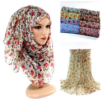 Shopping Free Shipping US $28.45 / lot Hijab Small flower women's cotton shawls long viscose 8 color hijab head wrap muslim scarves/scarf 10pcs/lot