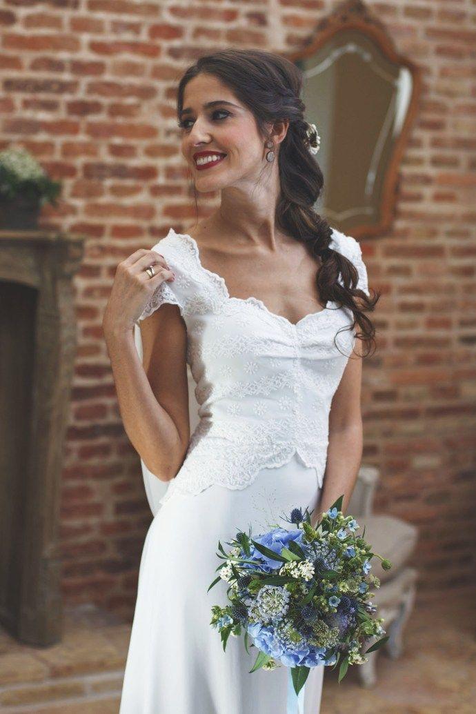 vestido novia espalda encaje complementos azul | vestidos en 2019