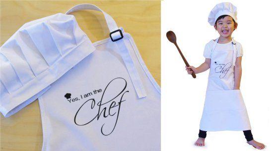 Kids Chef Hat Apron Set i am the chef