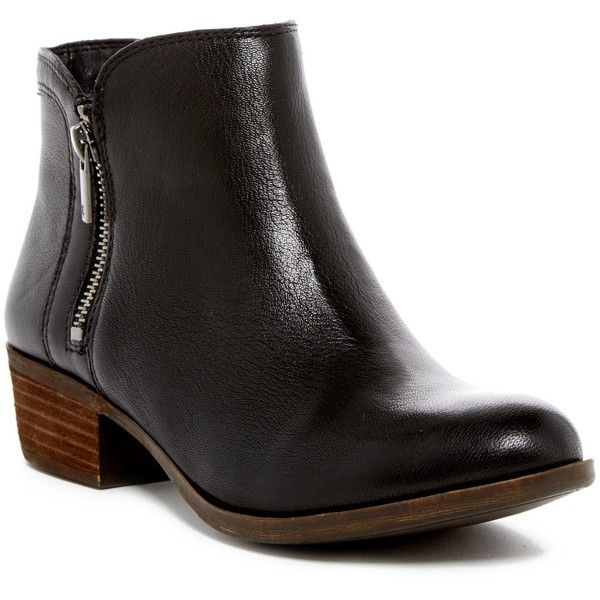 Lucky Brand Breah Bootie - Wide Width Available ($45) ❤ liked on Polyvore featuring shoes, boots, ankle booties, ankle boots, platform ankle booties, platform ankle boots, short booties, stacked heel booties and wide ankle boots