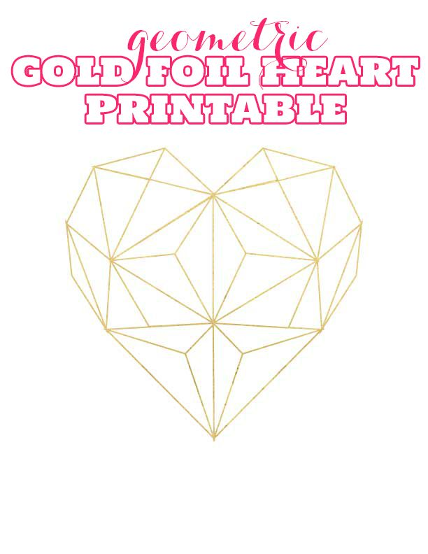 Gold Foil Geometric Heart Printable - The Bold Abode