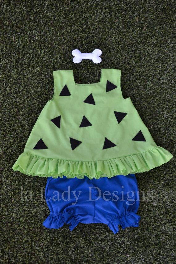 Pebbles Outfit Set Flinestone baby girl costume by laLadyDesigns
