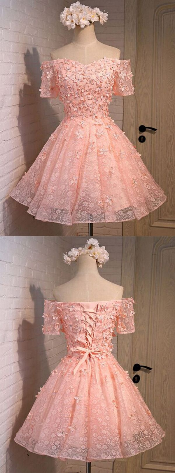 A-line Off-the-shoulder Short/Mini Coral Lace Homecoming Dress With Appliques…