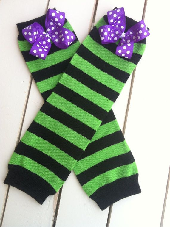 Frankenstein Leg WarmersGreen and Black Striped by BetterThanBows, $10.95