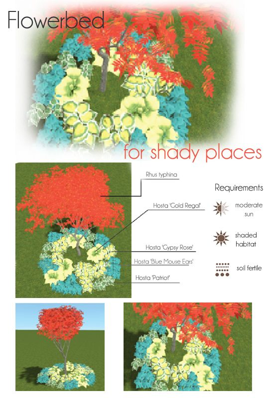 Flowerbed for shady places. Make your own project of flowerbed with MyGreenSpace http://mygreenspace.pl/en
