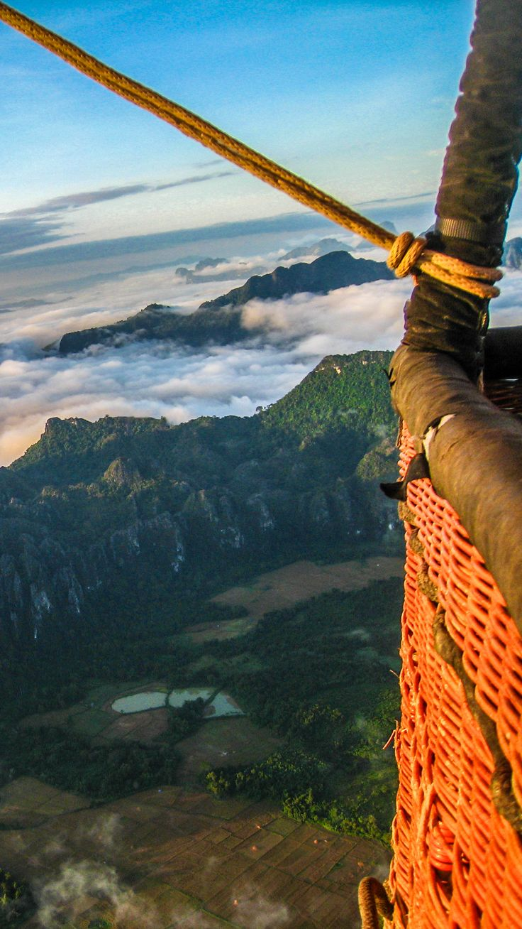 The view from a hot air balloon in Vang Vieng in Laos? Cloudy and mountainous.