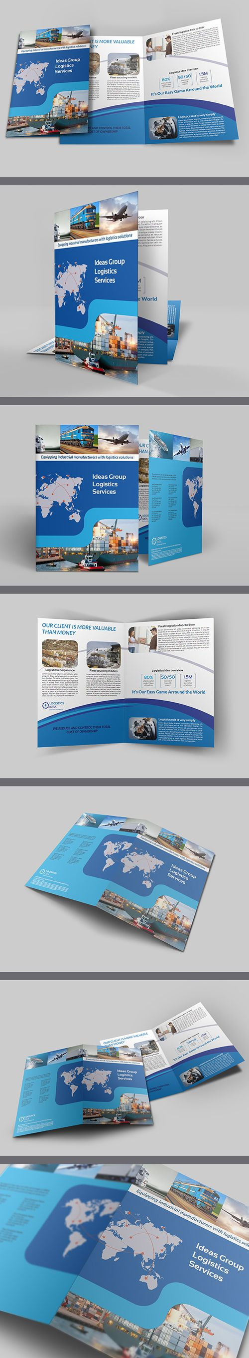 Logistics Services Bi Fold Brochure Template #brochuredesign  #corporatebrochure #graphicdesign