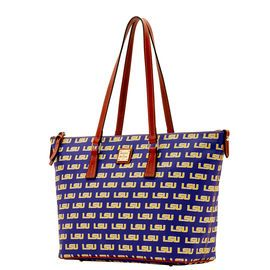 NCAA College Basketball/ March Madness | Dooney & Bourke | NCAA LSU Zip Top Shopper  NCAA | Basketball Handbag | Basketball Accessory | Basketball Accessories | Basketball Purse | Fashion | Style