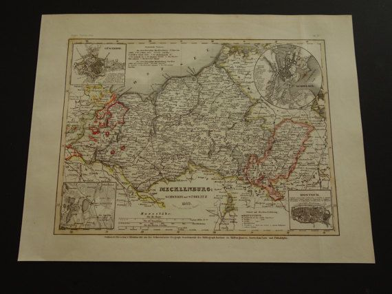 GERMANY old map of Mecklenburg 1849 original by VintageOldMaps