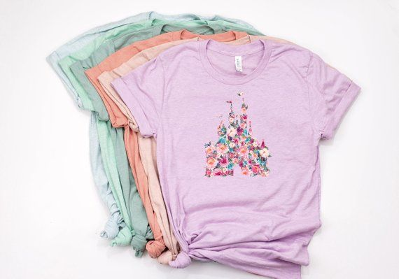 Watercolor Floral Disney Castle Shirt Disney World T Shirt