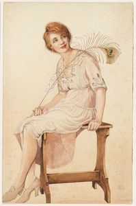 Lady with peacock feather, nd, watercolour drawing by May Gibbs. From the collections of the Mitchell Library, State Library of New South Wales www.sl.nsw.gov.au...
