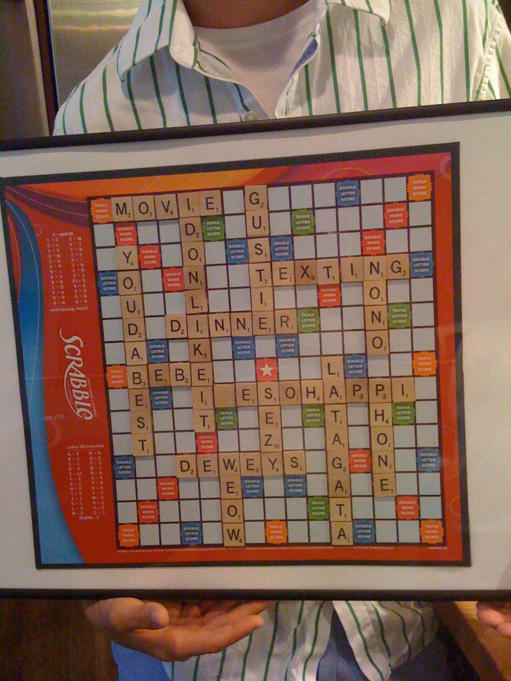 valentine or aniversary gift idea with scrabble board put all the dates youve had or all the things you lvoe about the other person