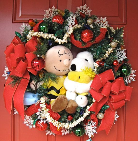Charlie Brown and Snoopy Christmas Wreath, by IrishGirlsWreaths, $159.99- *SOLD!*
