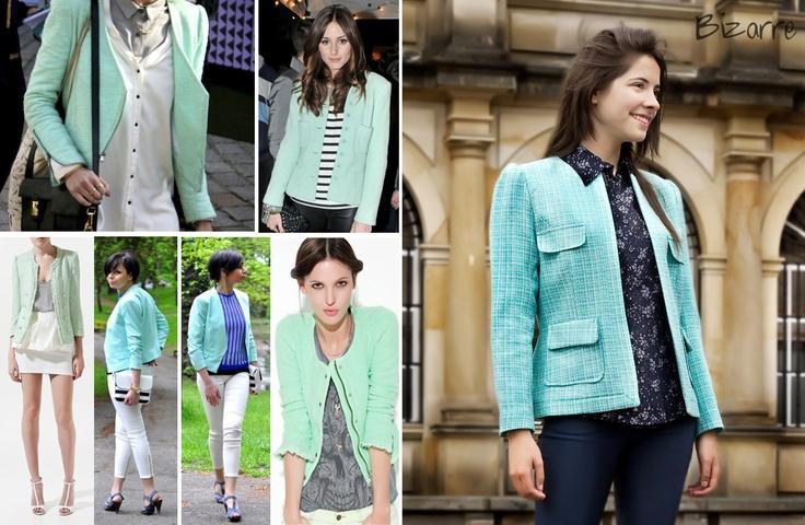 jacket, chanel, tweed, fashion, bogota, BIZARRE, mint