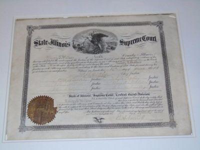 1881 USA Illinois Supreme Court Chief Justice & 6 Signed Document Civil War
