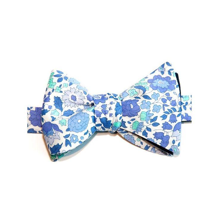 Noeud Papillon Liberty Bleu Ciel Danjo - Le Colonel Moutarde