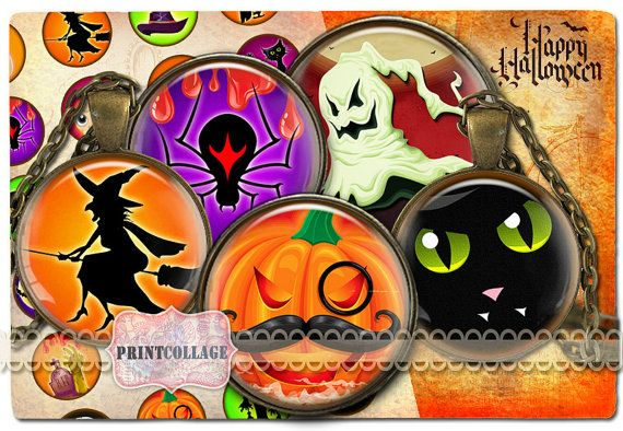 Digital Collage Sheet  Happy Halloween  Cabochon by PrintCollage