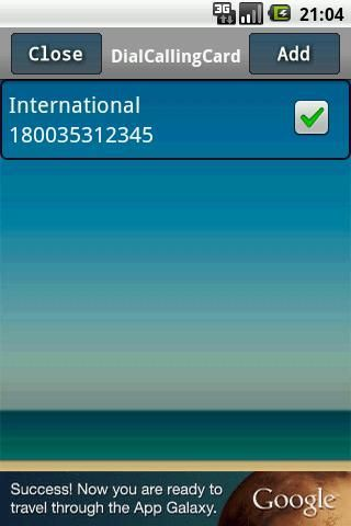 You can make Long distance and International calls directly from your address book using your calling card without internet access. No need to dial multiple numbers and no need to remember them.<br/><br/>Simply register your calling card and start making international or long distance  calls directly from address book. <br/><br/>Added new Pro version to configure multiple calling cards for Long distance and International.<br/><br/>You can enable or disable  service whenever you want…