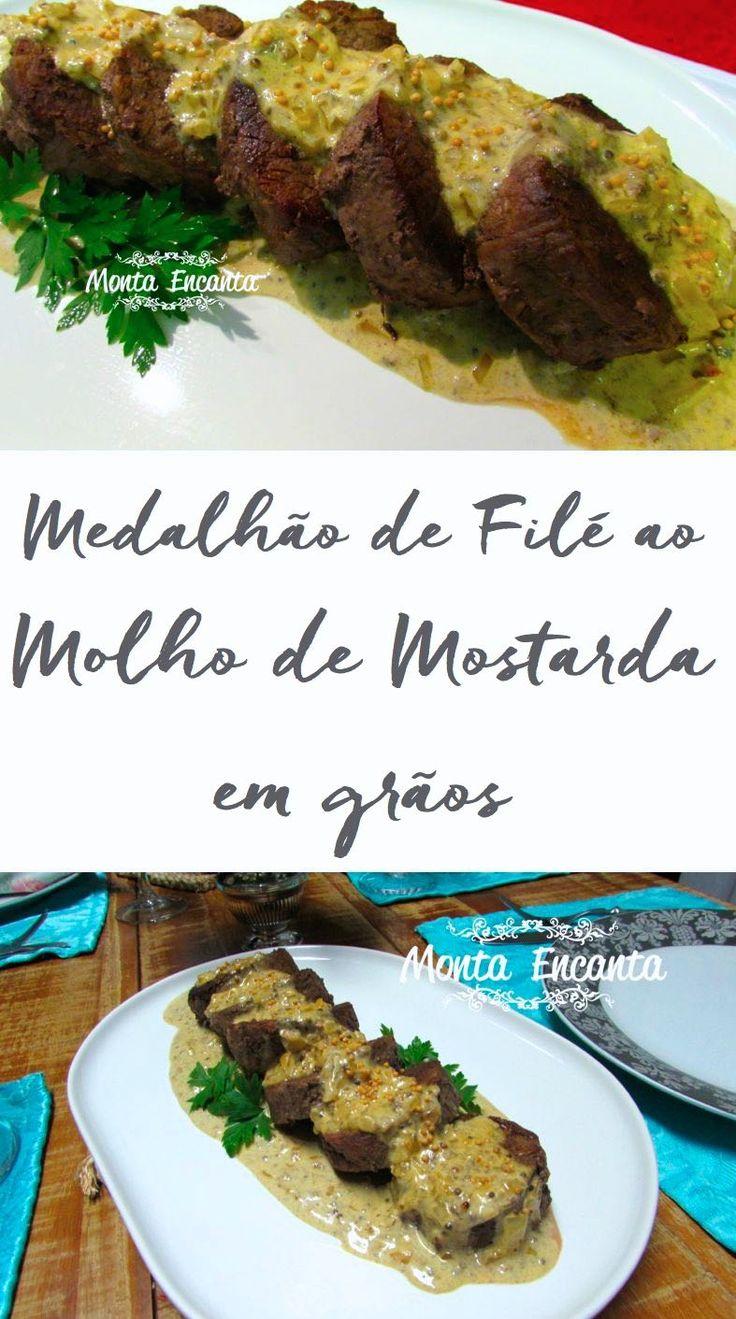 Como Preparar Medalhões de Filé Mignon ao molho de mostarda em grãos, carne ao ponto, suculenta. Jantar especial e pronto em 20minutos