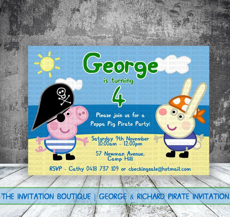 George+Pig+Pirate+Invitation+Peppa+Pig+by+TheInvitationBoutiqu,+$12.50
