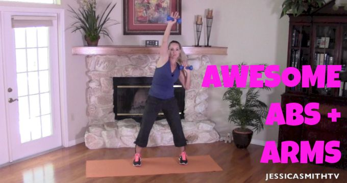 20-Minute Awesome Abs And Arms (This workout is awesome!!) - Jessica Smith TV Fitness YouTube Workout Videos
