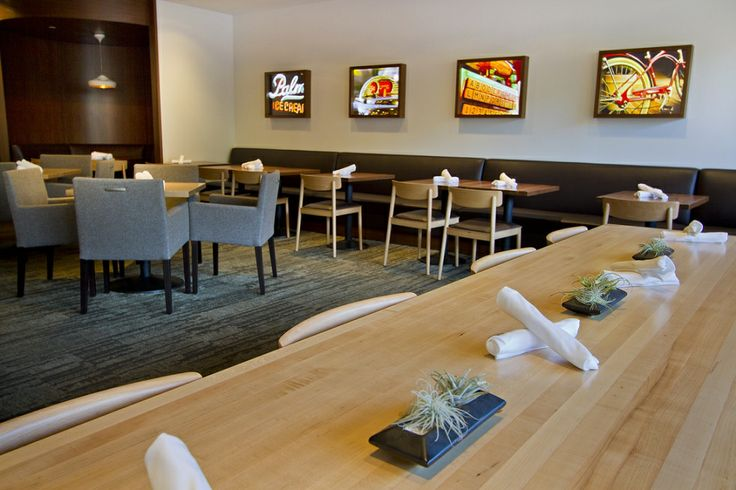 Our cozy yet modern dining area offers ample seating