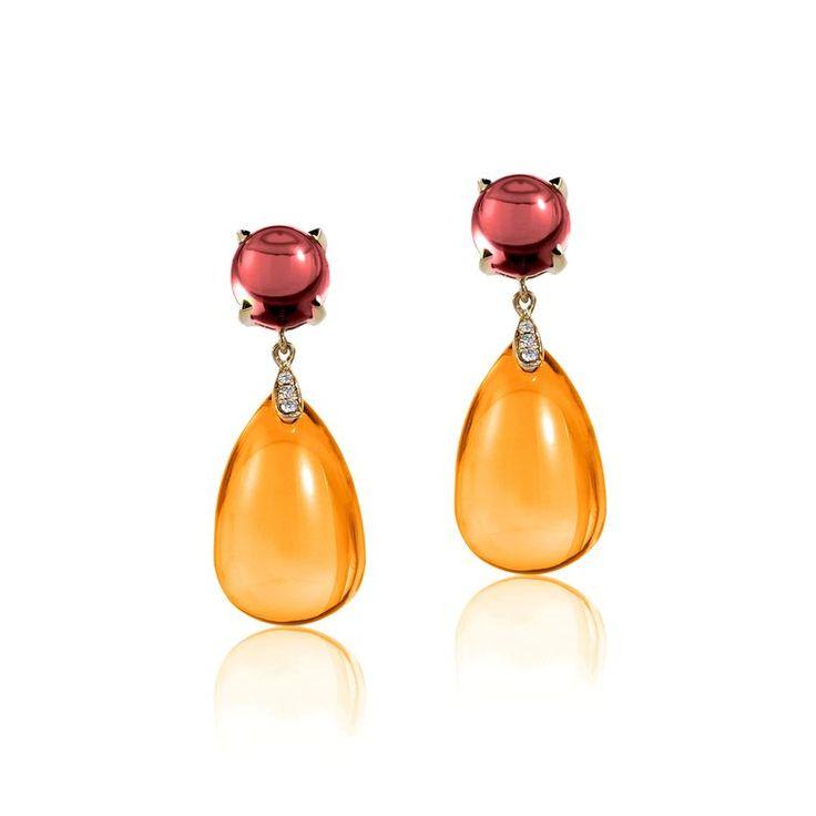 Goshwara citrine and garnet cabochon earrings