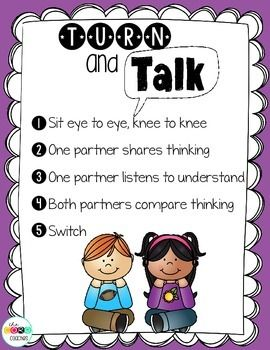 This colorful Turn and Talk Poster can be used as a classroom resource during close reading lessons.