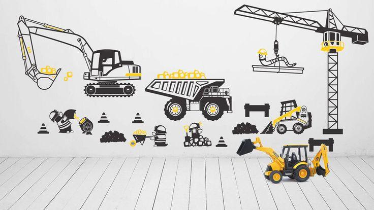 Naklejki na ścianę dla dzieci, KOPARKA, CIĘŻARÓWKA w Pracownia Golden Sheep na DaWanda.com