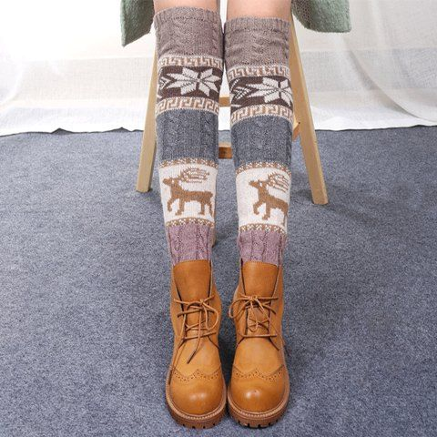 $6.75 Pair of Stylish Snowflake and Deer Pattern Christmas Knitted Leg Warmers For Women