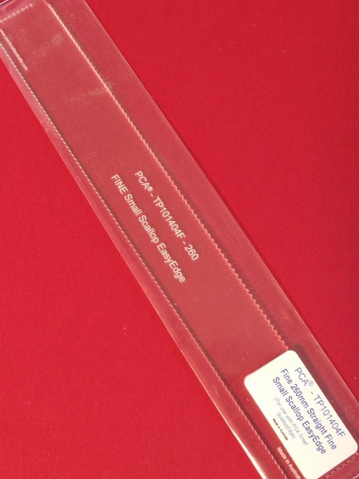 PCA EASY EDGE TEMPLATES - 101404F FINE 260mm STRAIGHT SMALL SCALLOP  Clear plastic template manufactured to fit the PCA® Fine Small ScallopEdge Tool. Use this template to give you a perfect straight line of Fine Small Scallop picot edging. Simply use the PCA® Fine Small ScallopEdge along the template. Change directions, make angles, make frames, be creative.