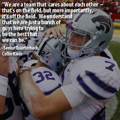 Senior Quarterback Collin Klein on the team chemistry.