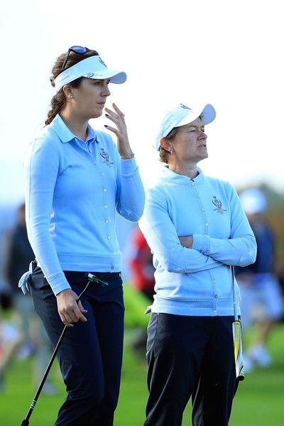 Sandra Gal Photos Photos - Sandra Gal (L) and Catriona Matthew (R) of the European Team looks on at first green during the morning foursomes on day one of the Solheim Cup 2015 at St Leon-Rot Golf Club on September 18, 2015 in Sankt Leon-Rot, Germany. - The Solheim Cup - Day One