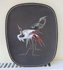 Teller Wandteller Keramik Bild 50s 60s 60er Rockabilly Kranich Vögel - Vintage